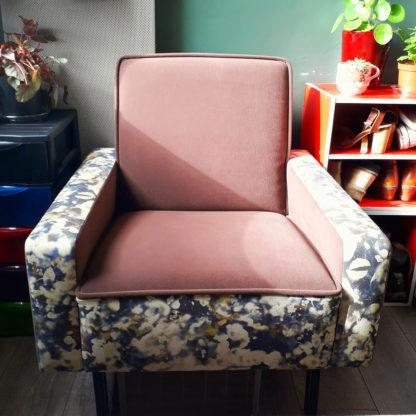 fauteuil vintage retapissé par Angelina Viault